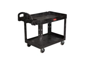 Rubbermaid Large 2 Tier Heavy Duty Utility Cart w/Lipped Shelf