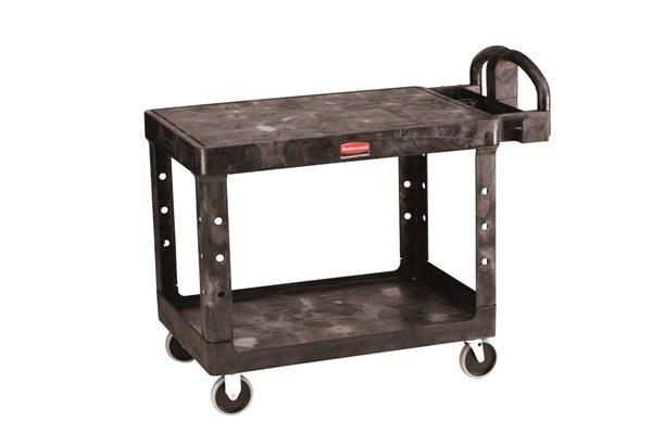 Rubbermaid Large 2 Tier Heavy Duty Utility Cart w/Flat Shelf