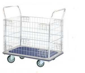 Flat Bed Trolley Folding - Wire Mesh Sides