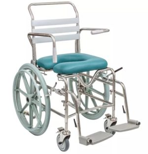 Self-Propelled Mobile Shower Commode - Height Adjustable Seat & Swing-Away Footrest