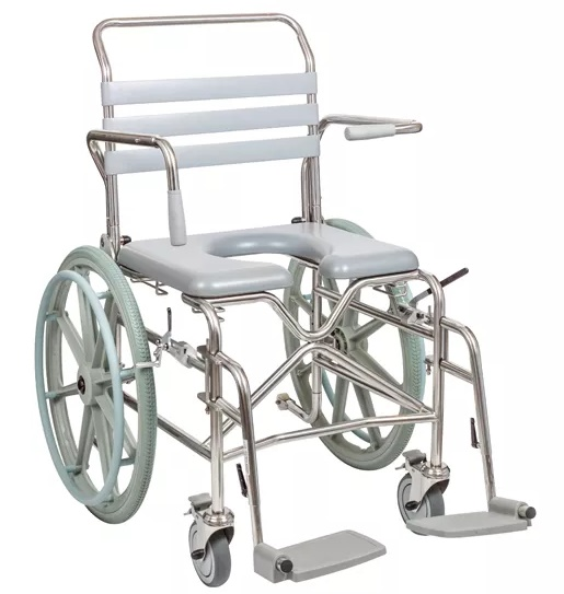 Bariatric Self-Propelled Mobile Shower Commode - Swing-away Footrest