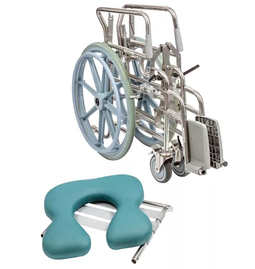 Folding Self-Propelled Commode - Swing-away Footrest
