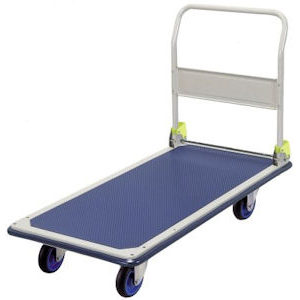 Folding Handle Platform Flat Bed Trolley - Long Deck