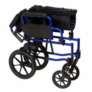 Lightweight Transit Wheelchair Blue Frame