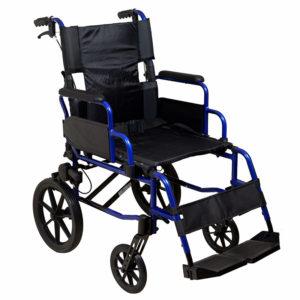 Lightweight Transit Wheelchair Blue Frame