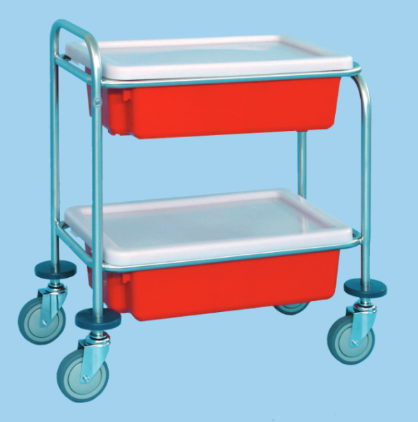 Utility Trolley With Two Containers And Lids