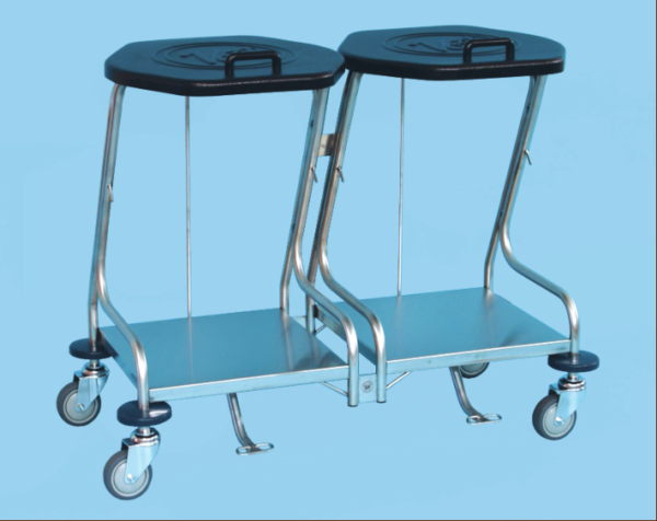 Double Linen Bag Trolley with Foot Operated Lid